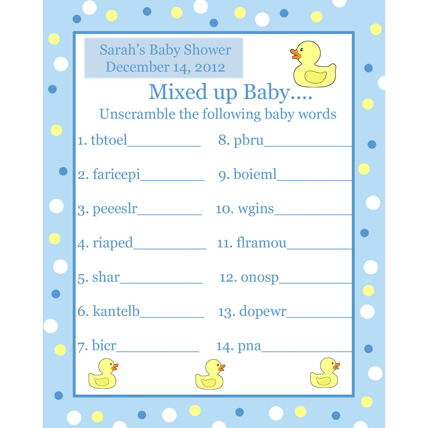 24 Personalized Word Scramble Baby Shower Game Cards Blue