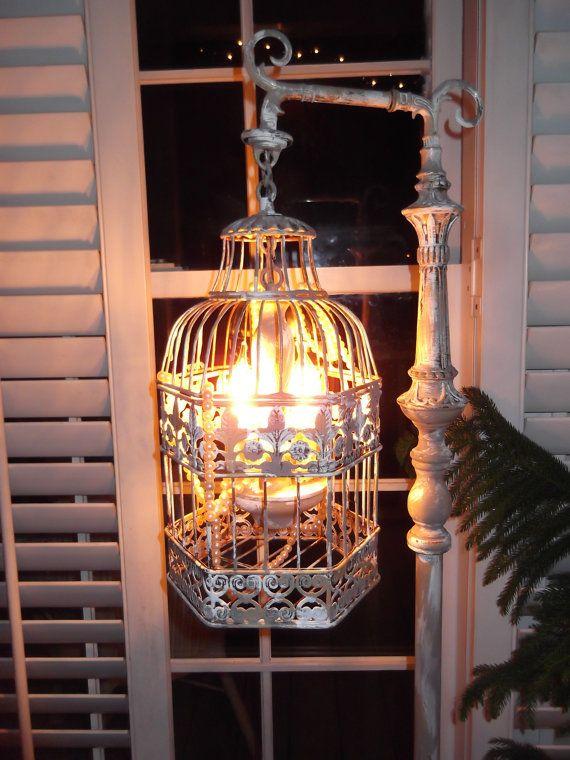 Chandelier Floor Lamp Vintage Bird Cage Light Shabby Chic Chippy Nostalgic