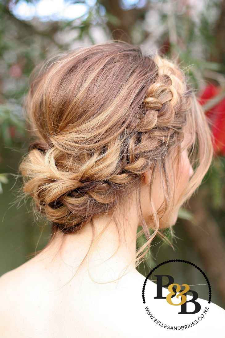 Wedding hair with braid messy bridal updo bridesmaids hair Our