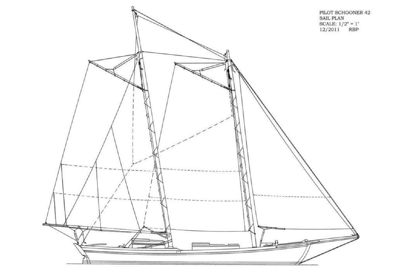 Pilot Schooner 42 Sail Plan Afbeelding