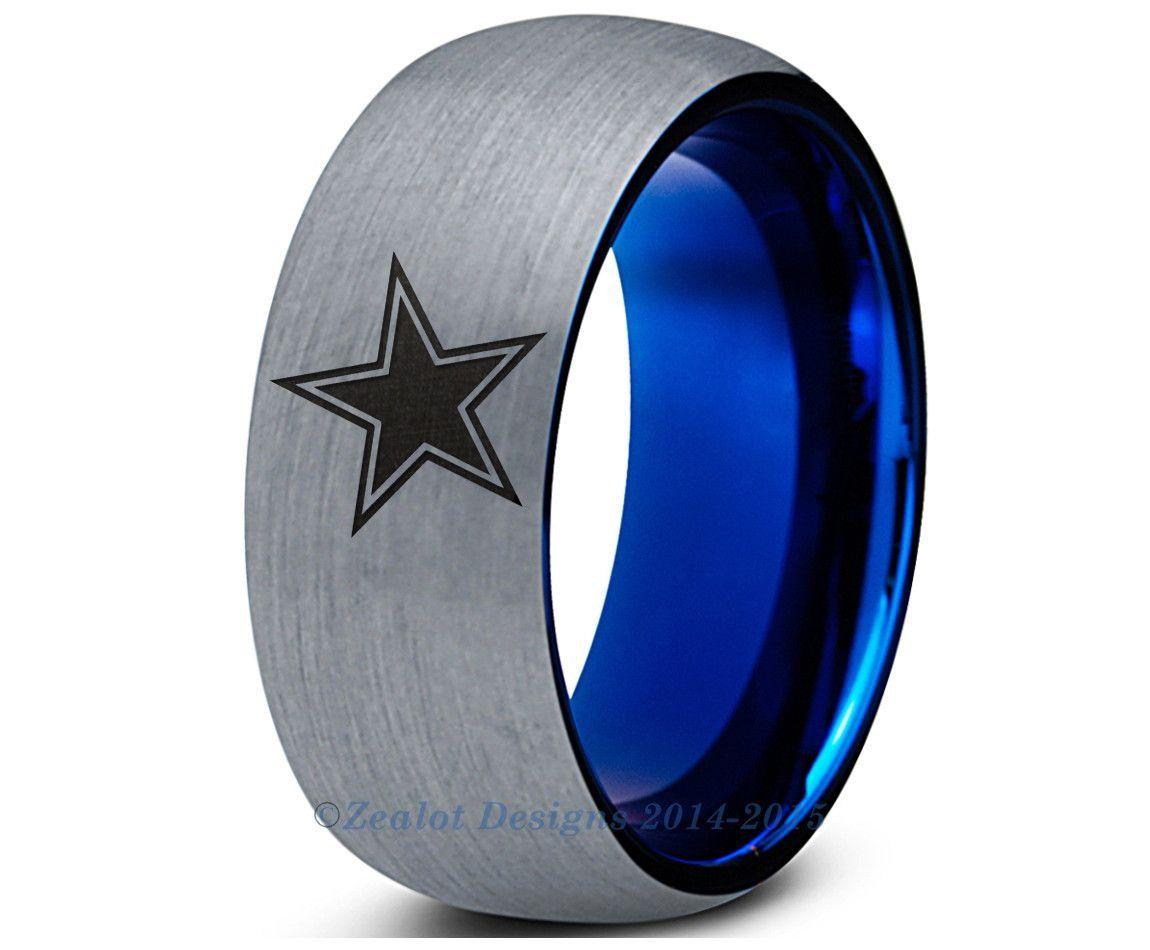 SPECIAL SALE Dallas Cowboys Blue Dome Tungsten Wedding