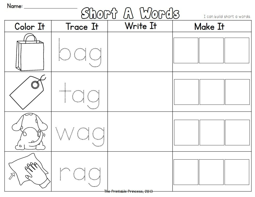 Cvc Words Short Vowel Word Families Read It Trace It Make It