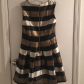 Black cream and gold striped flare dress flare wedding and