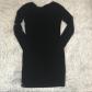 Piko black long sleeve bodycon dress bodycon dress solid