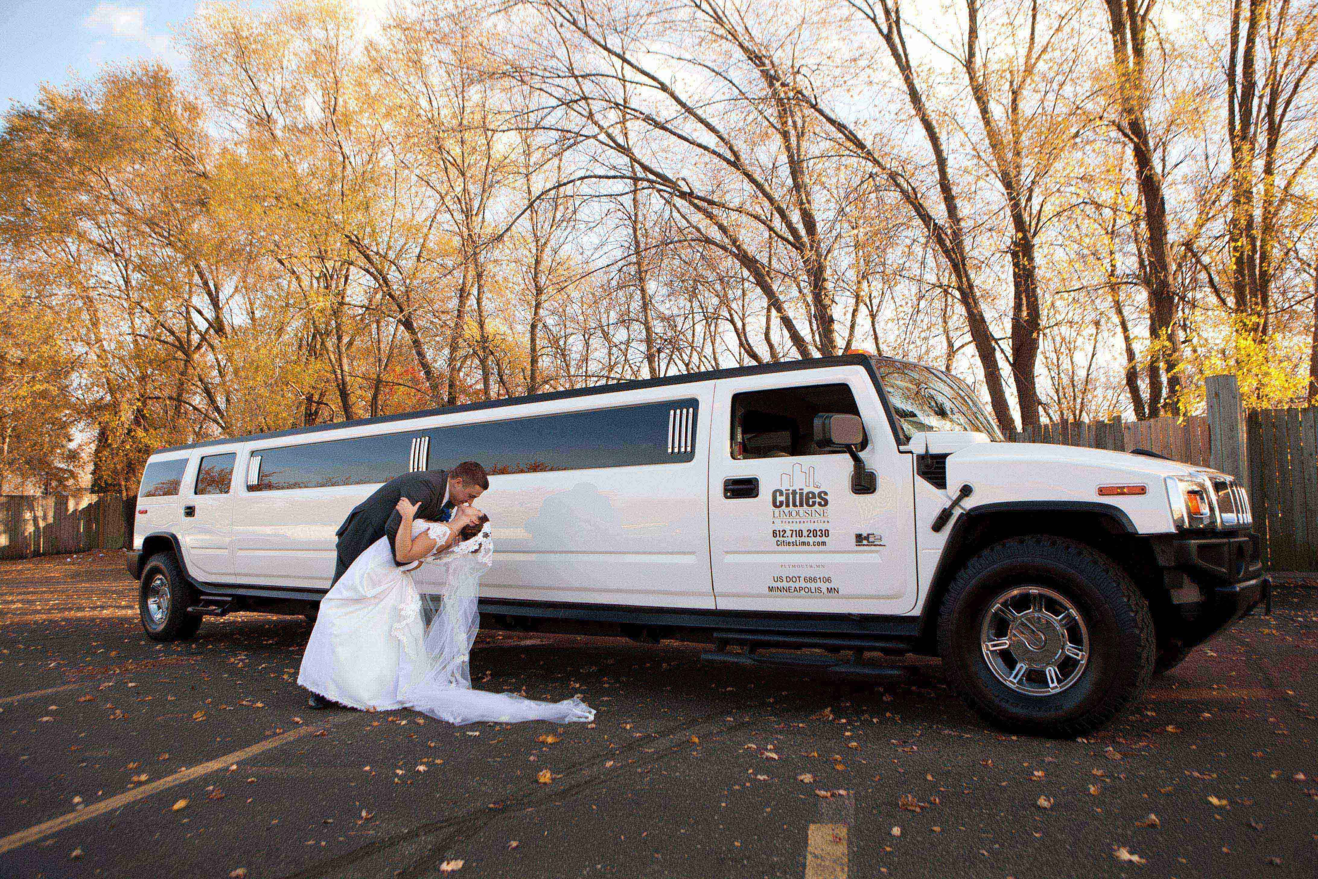 A romantic moment in front of the limo by Kim