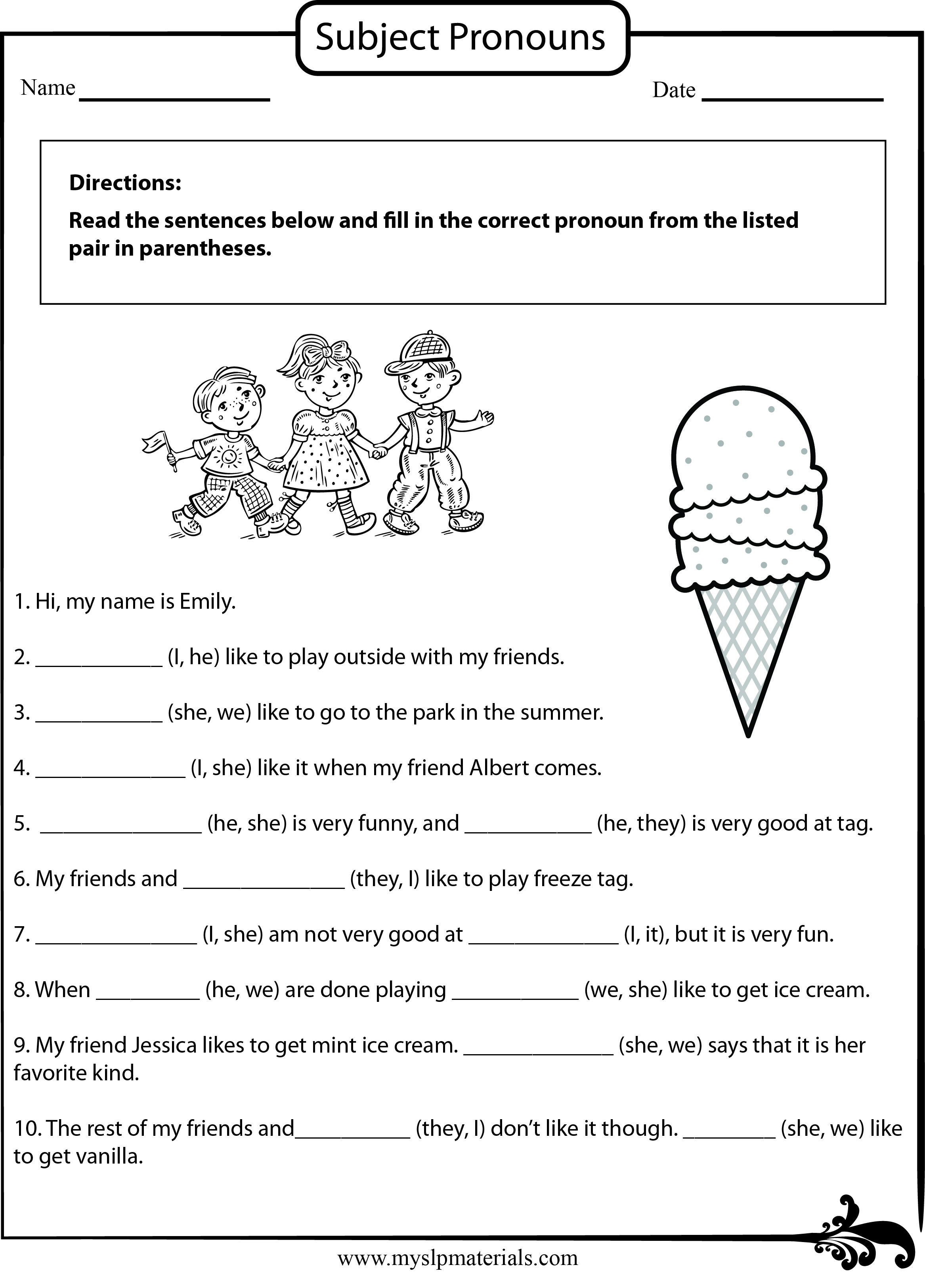 S Slpmaterials Subject Pronoun Speech Language Worksheet
