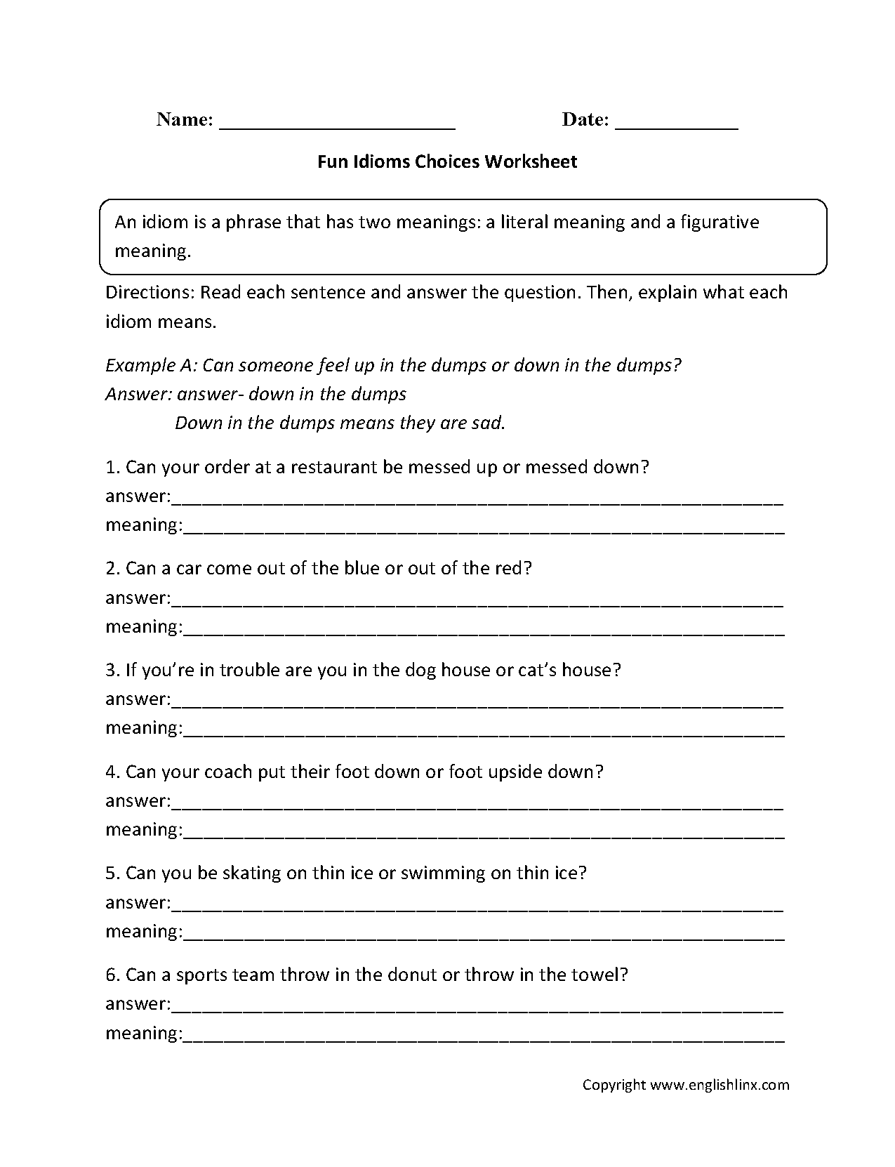 Fun Idioms Choices Worksheets Education