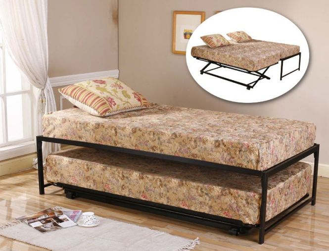 Black Metal Twin Size Hirise Day Bed Daybed Frame Pop Up Trundle New