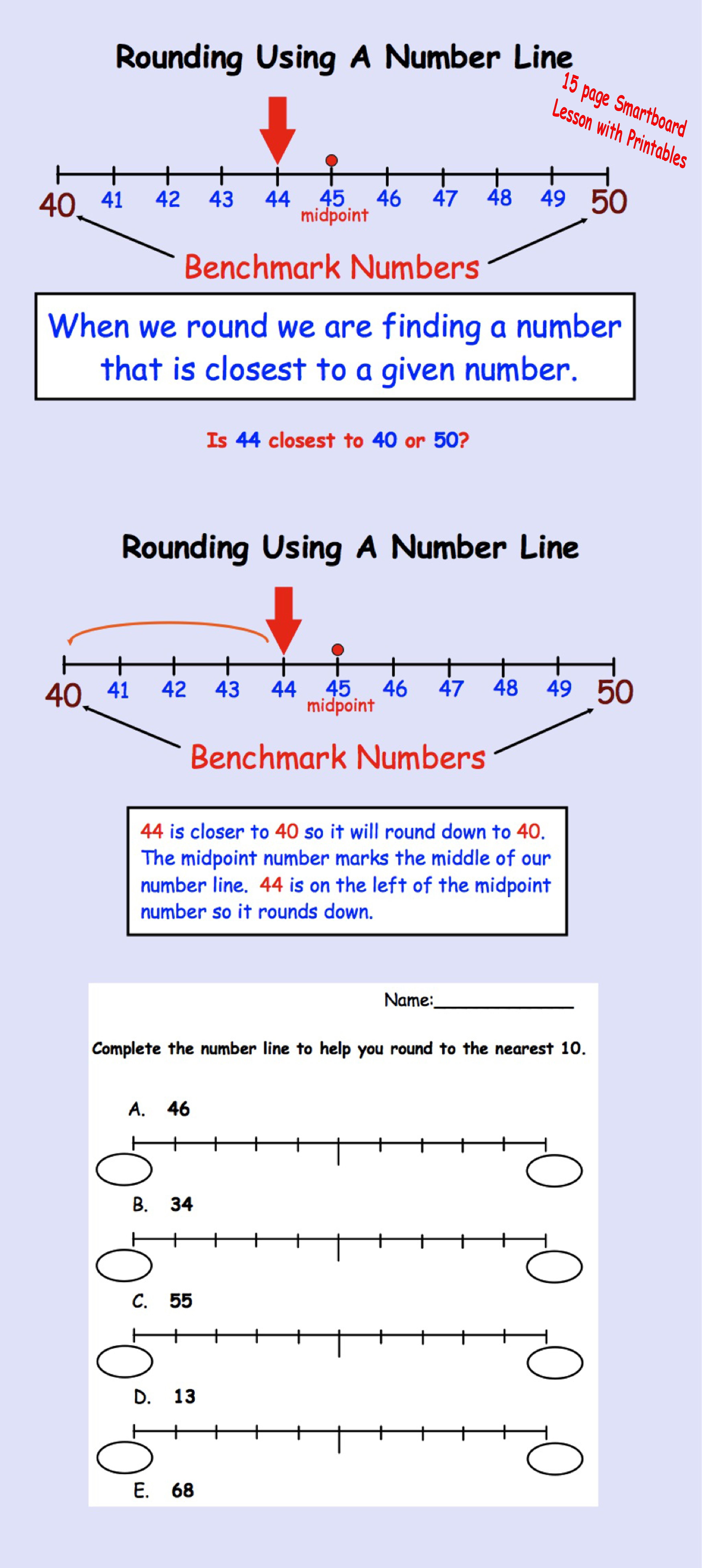 Rounding Using A Number Line Interactive Smartboard Lesson