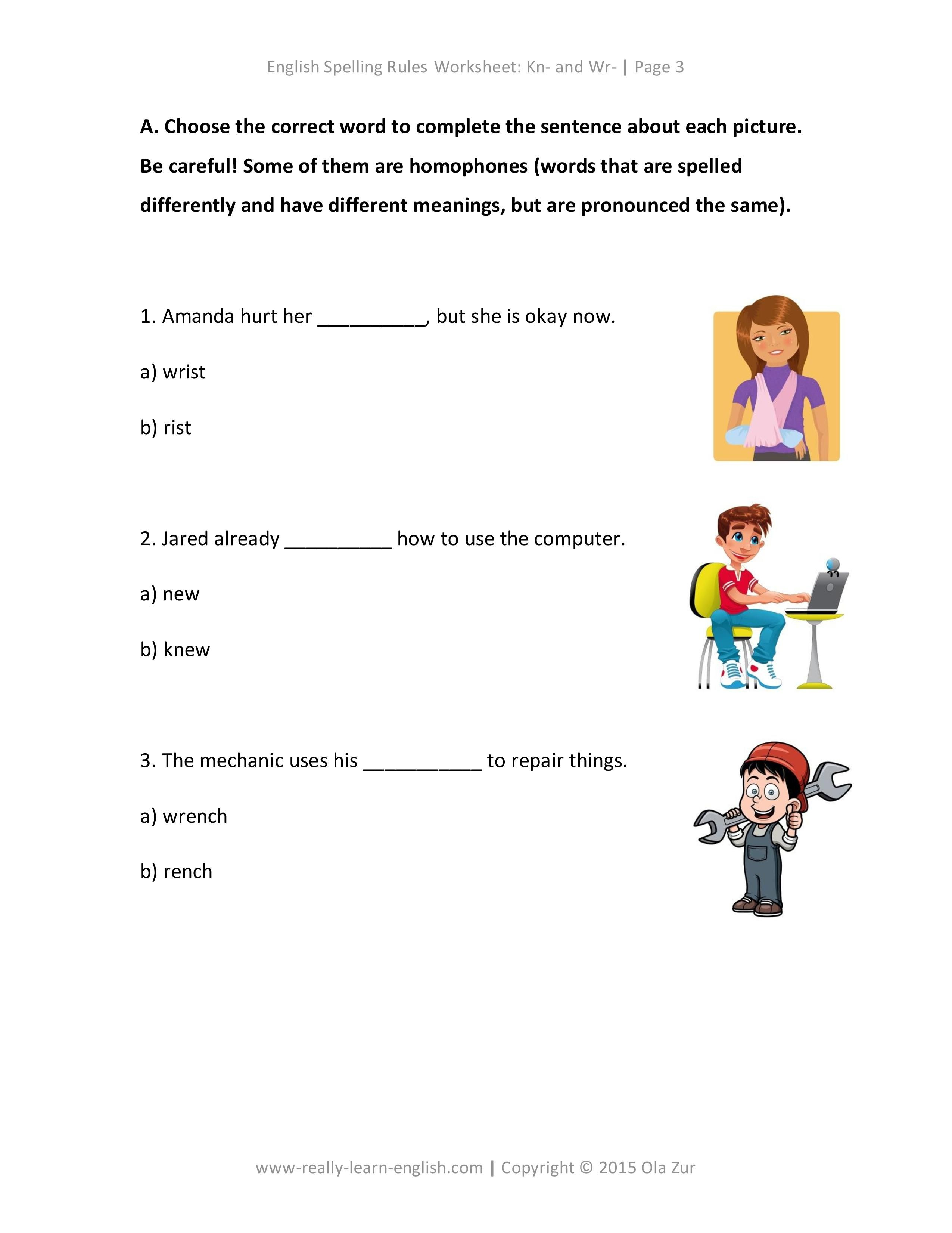 English Spelling Rules And Printable Worksheet For Kn And Wr At The Beginning Of Words Silent