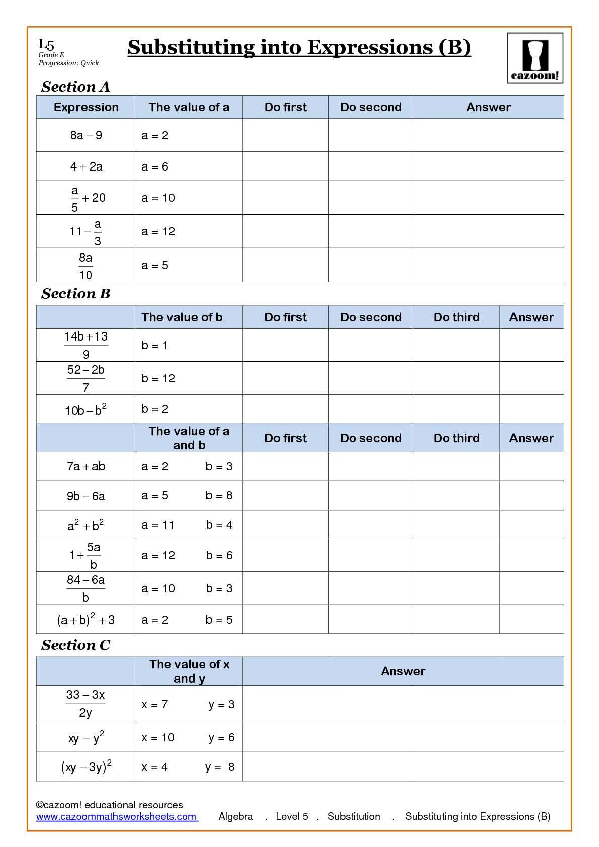 Algebra With Cazoom Maths