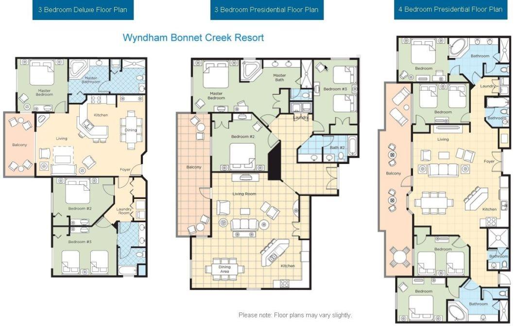Wyndham Bonnet Creek 4 Bedroom Presidential Suite Floor Plan