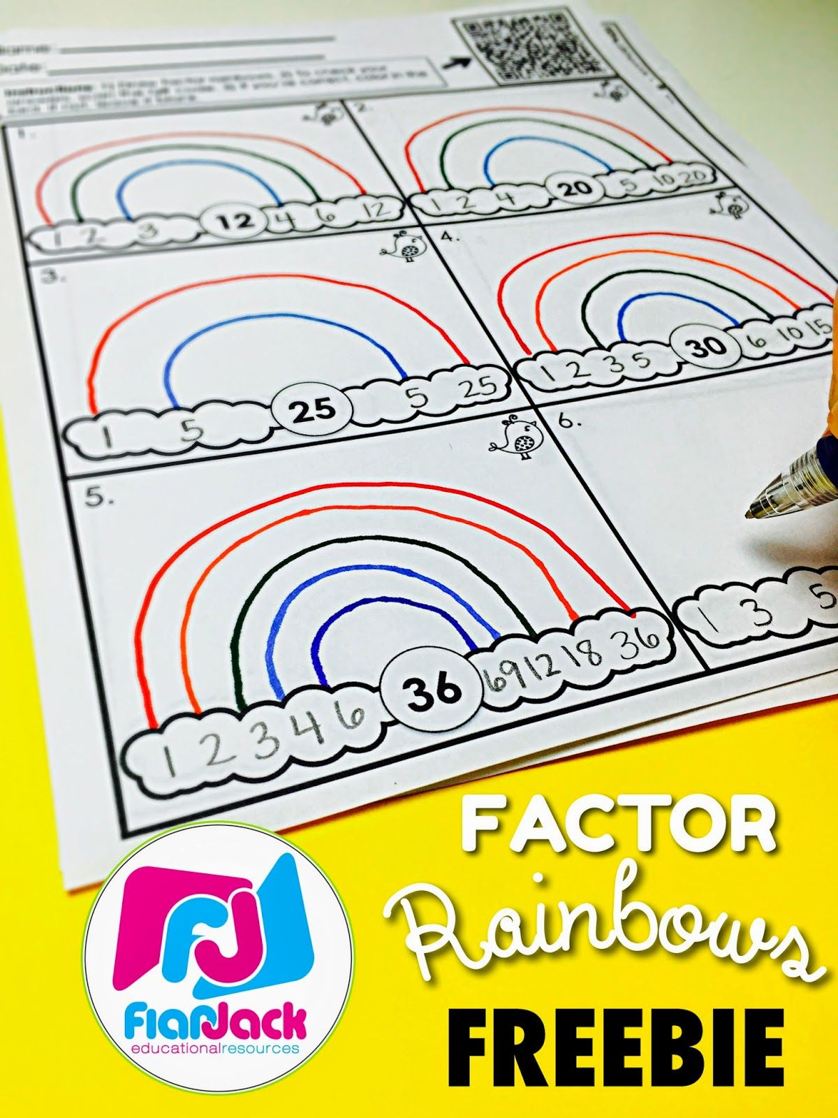 Factor Rainbows Worksheet