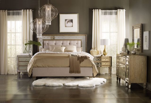 Hooker Furniture Bedroom Sanctuary King Mirrored Upholstered Bed