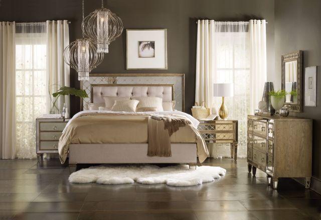 Hooker Furniture Bedroom Sanctuary King Mirrored Upholstered Bed