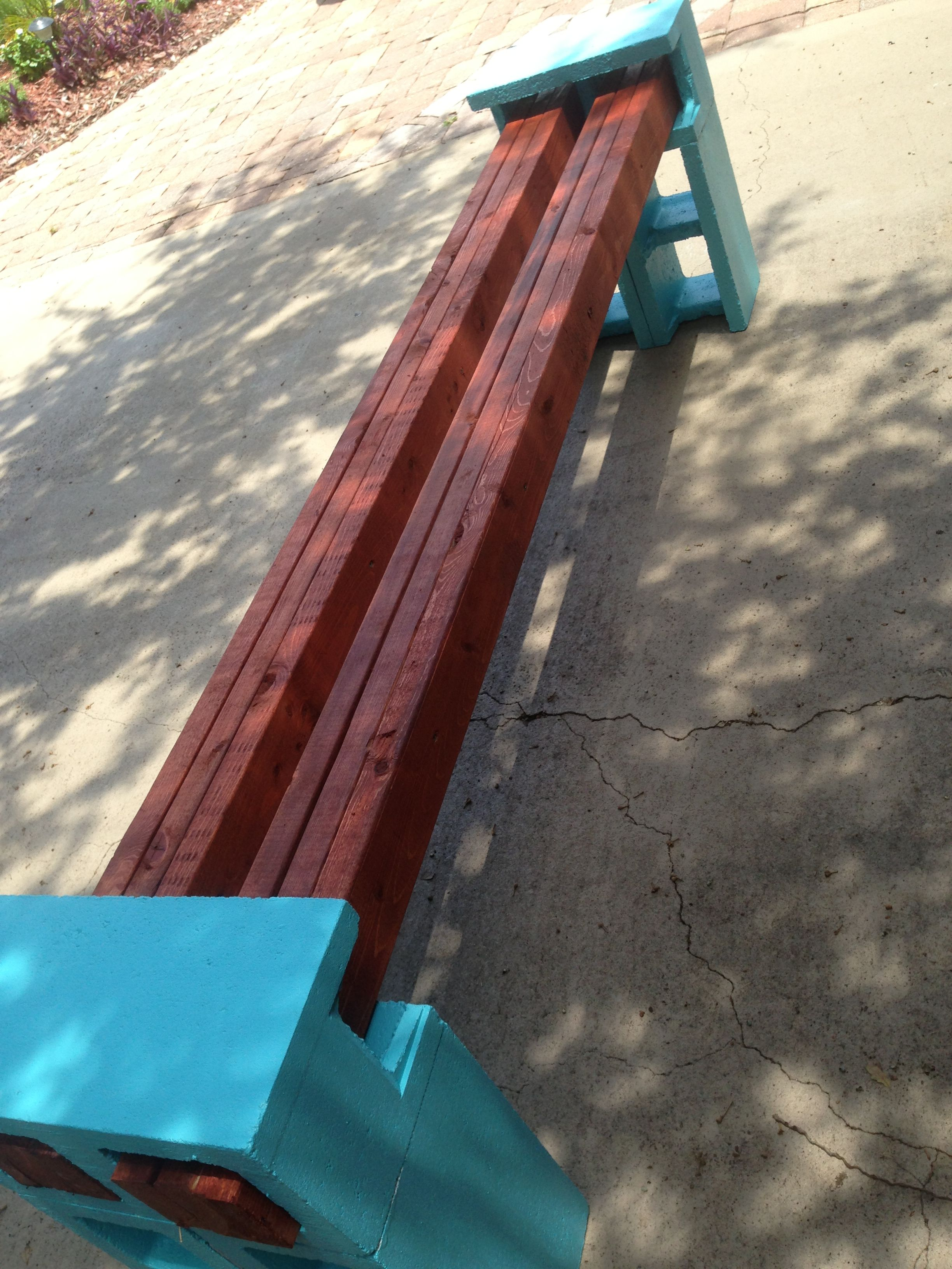 Easy Bench 6 Cinder Blocks Painted And Primed With Kilz 2