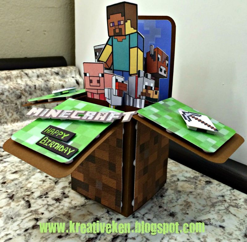 Kens kreations minecraft birthday card its in the
