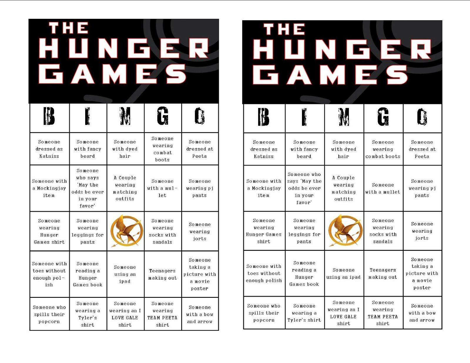 Hunger Games Themed Bingo Is Great For Pre Movie Fun