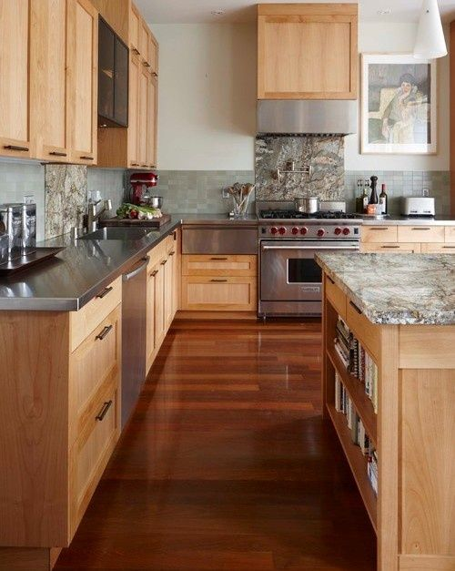Maple cabinets with blue/green tile backsplash and gray ... on What Color Backsplash With Maple Cabinets  id=34365
