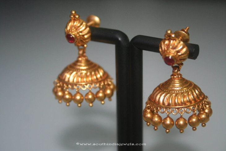 Simple Gold Jhumki From Prakruthi Gold Jewel and Antique coins