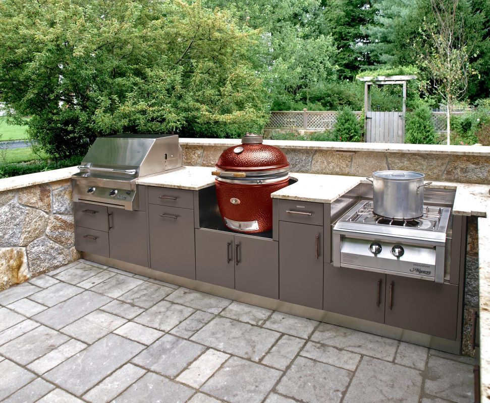 this compact outdoor kitchen layout covers the bases with a grill smoker and side burner set on outdoor kitchen with smoker id=57280