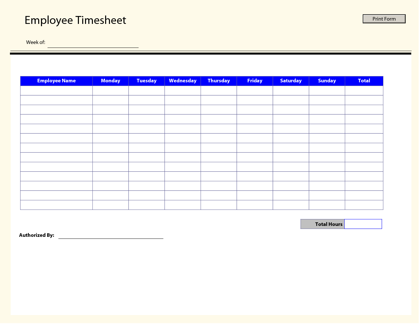 Blank Employee Timesheet Template
