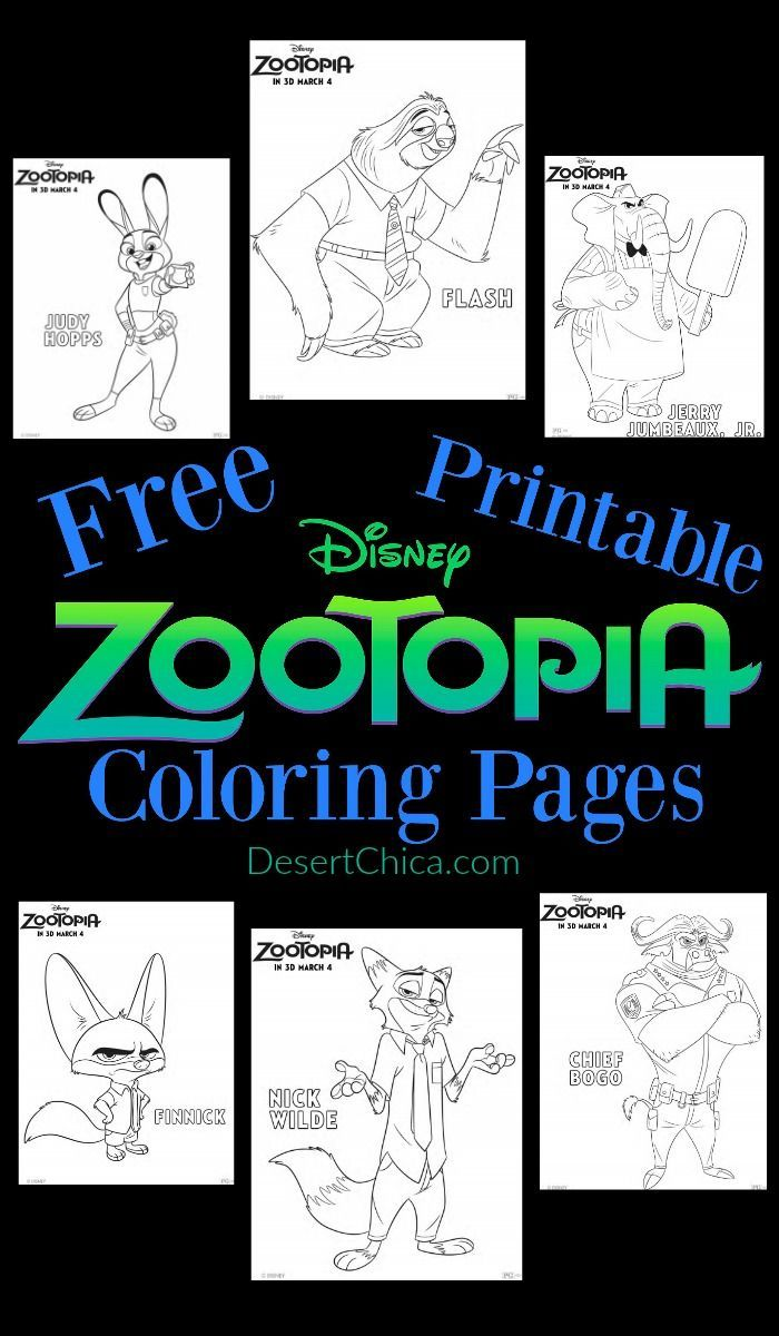 Disney Zootopia Coloring Pages Zootopia Free Printable And