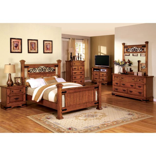 Furniture of America 4 piece Country Style American Oak Bedroom