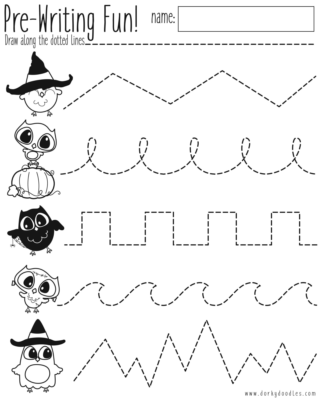 Pre Writing Practice Halloween Worksheet