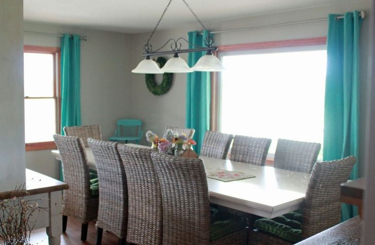 Teal curtains seagrass chairs  Dining Rooms  Pinterest  Teal
