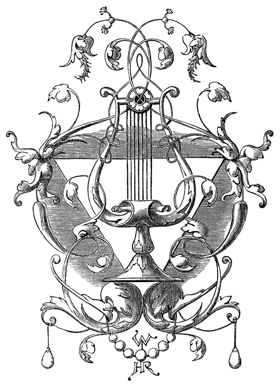 Harp Ornament Black And White Clip Art Vintage Harp