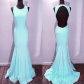 Light blue satin backless mermaid prom dresses olesawedding
