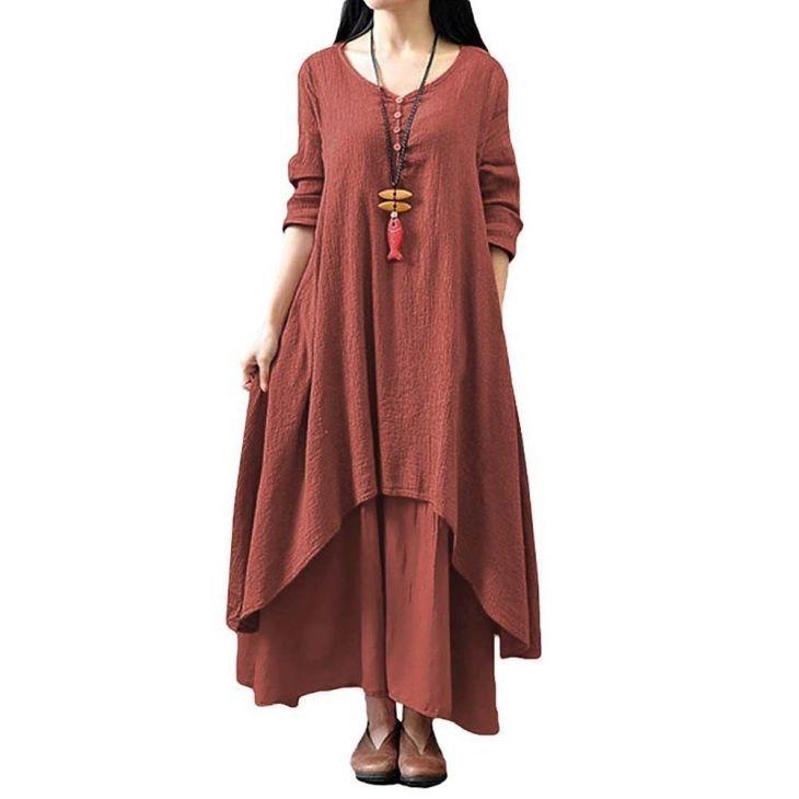 Women Boho Dress Irregular Maxi Dress Loose Long Sleeve Cotton Linen