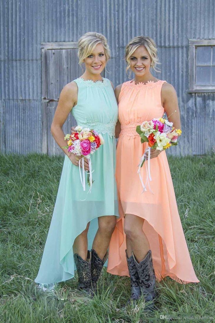 Cheap Summer High Low Bridesmaid Dresses Under Chiffon