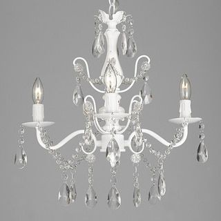 Wrought Iron And Crystal 4 Light White Chandelier H X W Pendant Fixture Lighting Ceiling Lamp Hardwire Plug In