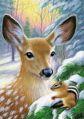Fawn Deer Chipmunk Wildlife Winter Snow Forest Original