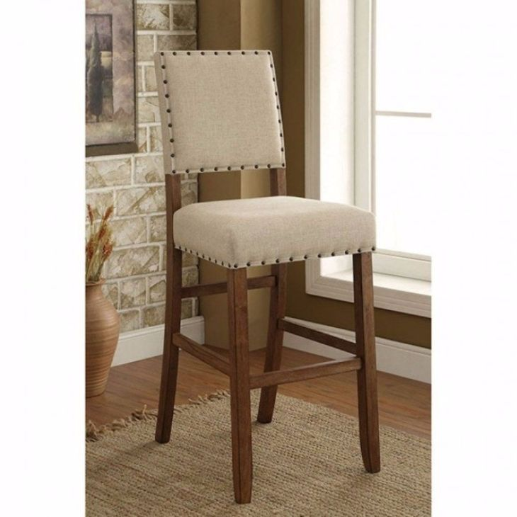 Benzara Sania Rustic Bar Chair In Ivory Linen Set of Natural