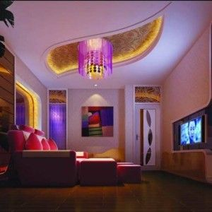 Media Room With Flush Mount Lamp And Led Strip Lights House In