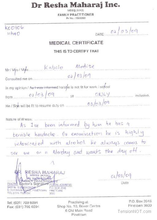 Fake Doctors Note Template Free Doctor Excuse Pdf Sick ...