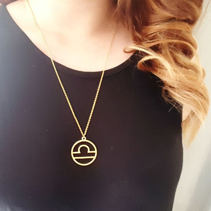 Gold Libra Starsign Necklace by Wild Lotus Jewellery Horoscopes