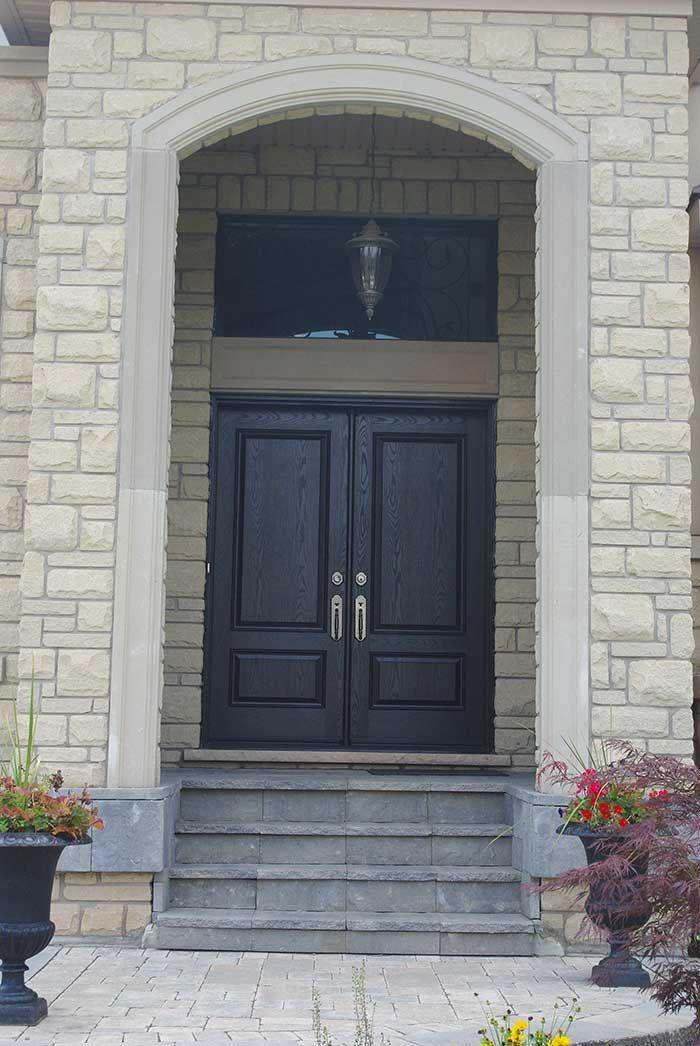 Solid Double Front Door Exterior Door Woodgrain