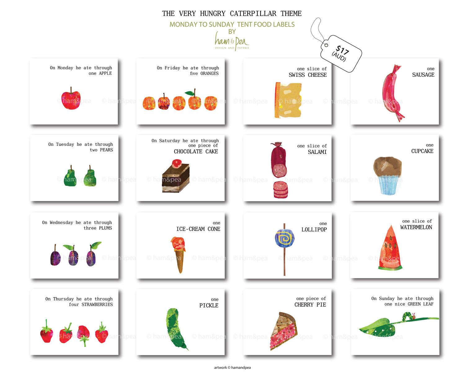 Caterpillar Inspired Tent Food Labels Monday To Sunday Printable File