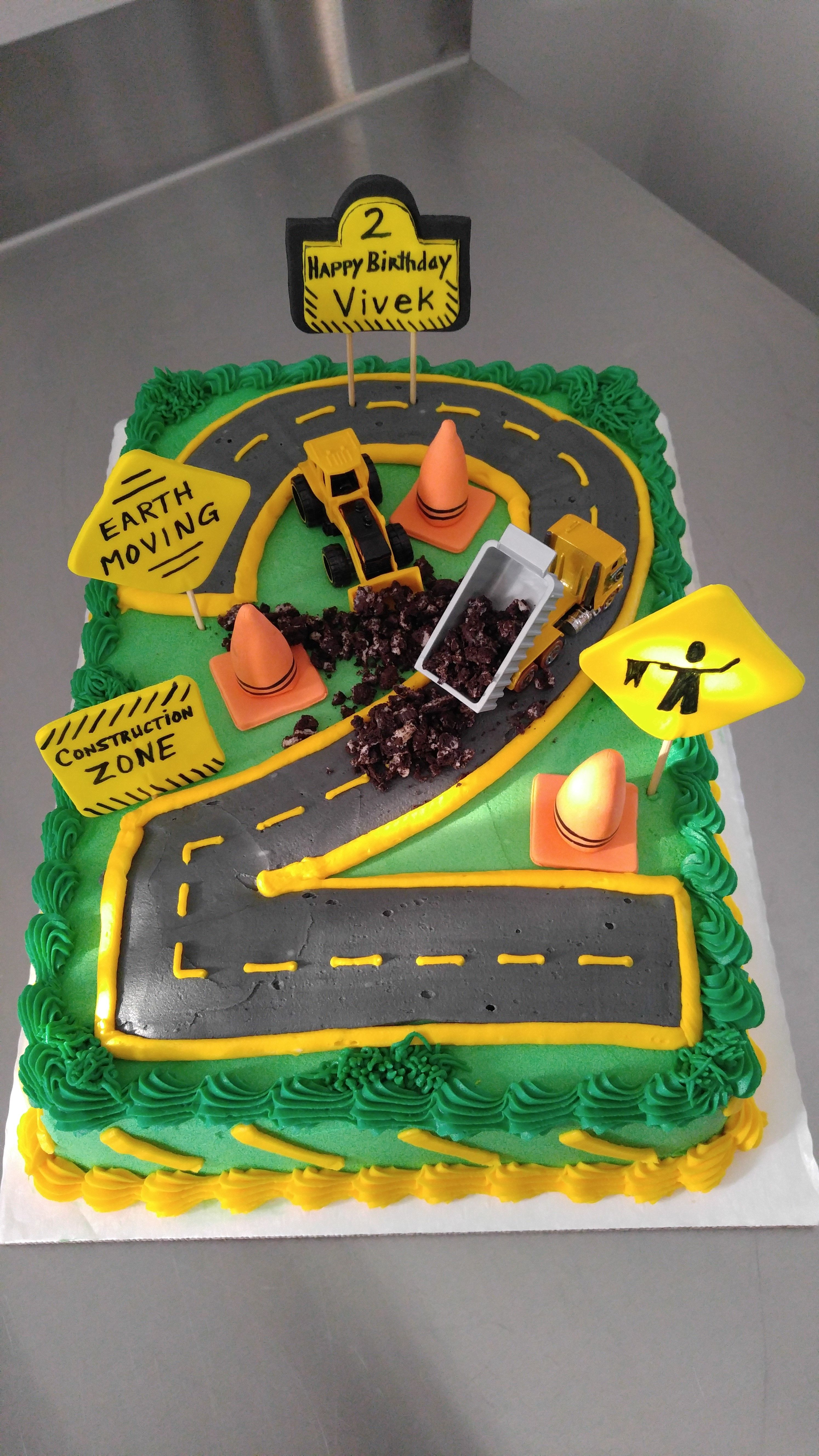 Construction Zone Birthday Cake For 2 Year Old Excavator