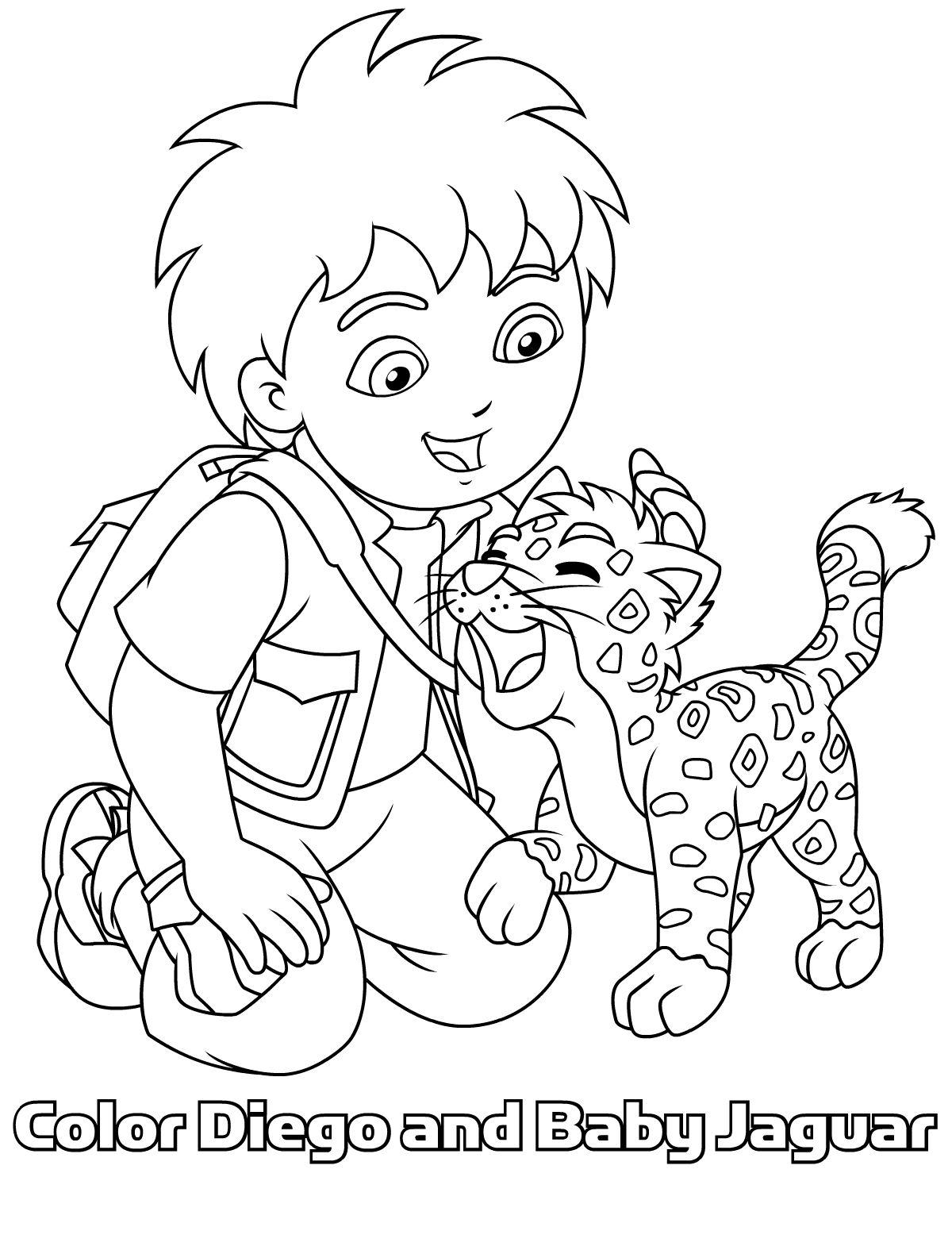Go En Baby Jaguar Samen Op 1 Kleurplaat