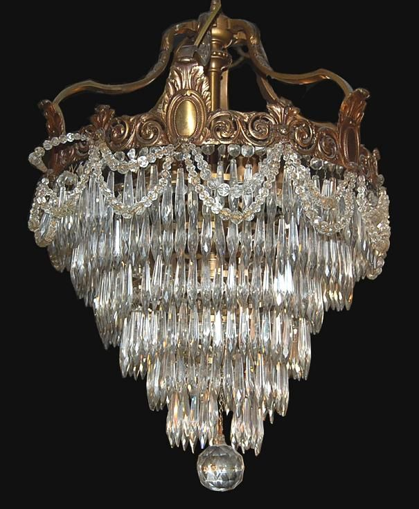 French Bronze Crystal Waterfall Chandelier Circa 1880 From Legacy Antique Furniture Lighting Decorative