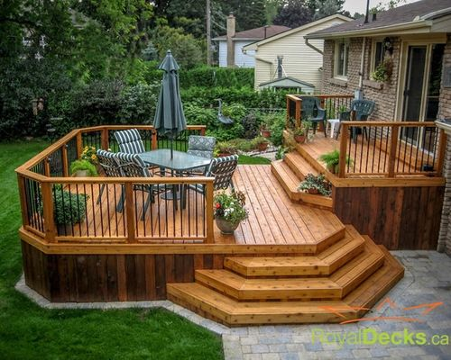Awesome Two Level Deck Designs Ideas | Backyard ideas ... on 2 Level Backyard Ideas id=30667