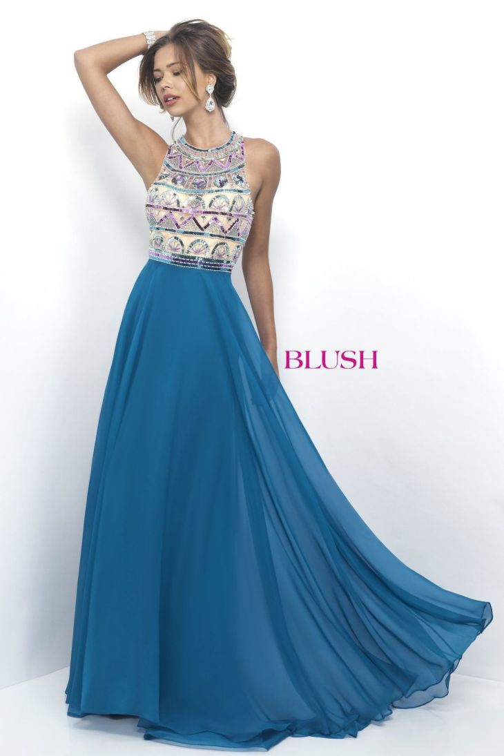 Blush Prom Teal Blue Sequin Chiffon High Neck Prom Dress