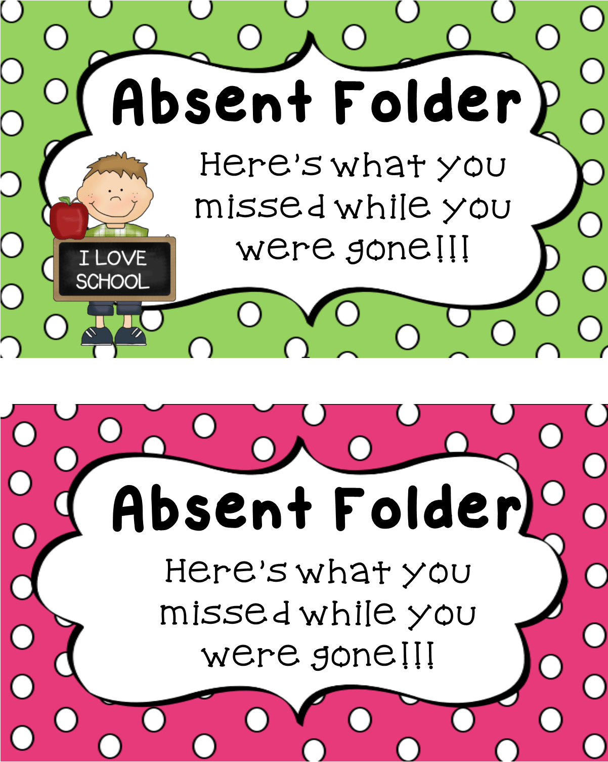 Free Absent Folder Printables For When Students Are Absent Awesome Backtoschool Freebie