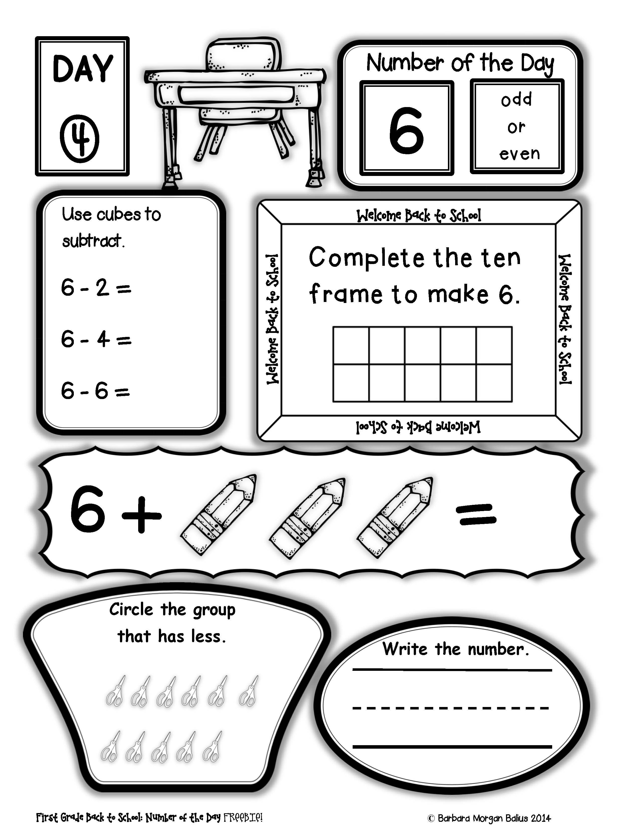 First Grade Back To School Number Of The Day Freebie All