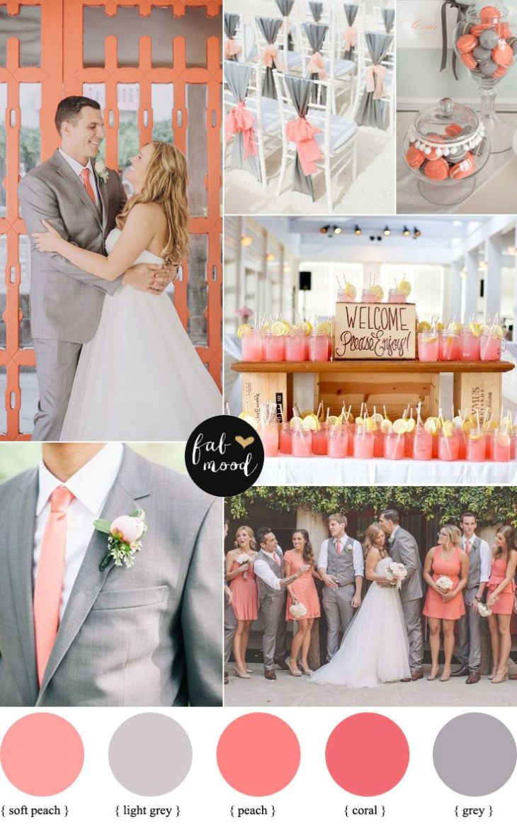 Peach coral and grey wedding palette  Grey weddings Coral and Peaches
